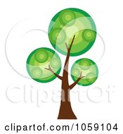 Royalty Free Vector Clip Art Illustration Of A Circle Foliage Tree Logo 1 by Hit Toon