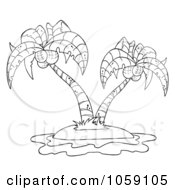 Royalty Free Vector Clip Art Illustration Of An Outlined Double Palm Tree Logo by Hit Toon