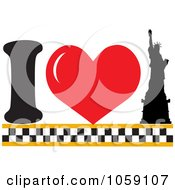 Royalty Free Vector Clip Art Illustration Of A Heart And Statue Of Liberty Meaning I Love New York