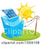Royalty Free Vector Clip Art Illustration Of A Sun Shining On A Building With A Solar Panel by Any Vector