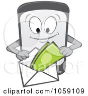 Royalty Free Vector Clip Art Illustration Of A Cell Phone Character Making A Payment