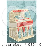 Royalty Free Vector Clip Art Illustration Of A Retro Jukebox On A Grungy Background by Any Vector