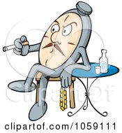 Royalty Free Vector Clip Art Illustration Of A Pocketwatch Sitting Back And Smoking A Cigarette