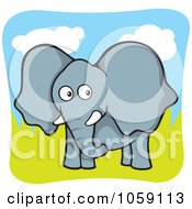 Curious Elephant In A Pasture