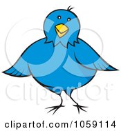 Royalty Free Vector Clip Art Illustration Of A Chubby Blue Bird by Any Vector