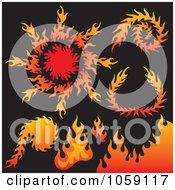 Royalty Free Vector Clip Art Illustration Of A Digital Collage Of Fire Designs by Any Vector