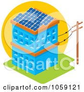 Royalty Free Vector Clip Art Illustration Of A Solar Powered Building With Panels On The Roof by Any Vector