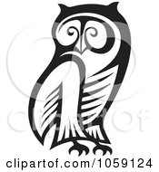 Royalty Free Vector Clip Art Illustration Of A Black And White Owl Outline
