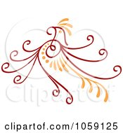 Royalty Free Vector Clip Art Illustration Of A Red And Orange Deco Bird Design by Any Vector