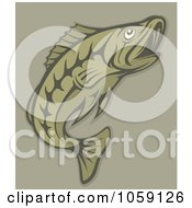 Royalty Free Vector Clip Art Illustration Of A Green Fish On Tan by Any Vector