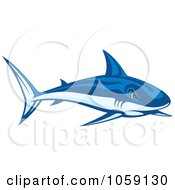 Royalty Free Vector Clip Art Illustration Of A Tough Blue Shark by Any Vector #COLLC1059130-0165