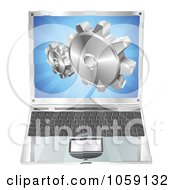 Royalty Free Vector Clip Art Illustration Of A 3d Laptop Gear Cogs Emerging From The Screen by AtStockIllustration