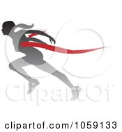 Royalty Free Vector Clip Art Illustration Of A Silhouetted Female Runner Breaking Through The Finish Line