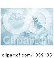 Royalty Free CGI Clip Art Illustration Of A 3d Virtual Hand Pushing A Button On A Blue Map Screen by AtStockIllustration