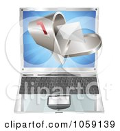 Royalty Free Vector Clip Art Illustration Of A 3d Letter In A Mailbox Over A Laptop