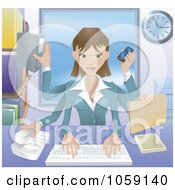 Royalty Free Vector Clip Art Illustration Of A Happy Businesswoman Multi Tasking In Her Office by AtStockIllustration