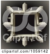 Royalty Free Vector Clip Art Illustration Of A 3d Spiked Metal Frame On Gradient Black