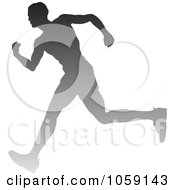 Royalty Free Vector Clip Art Illustration Of A Silhouetted Male Runner Breaking Through The Finish Line