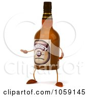 Royalty Free CGI Clip Art Illustration Of A 3d Whisky Bottle Character Facing Left And Gesturing by Julos