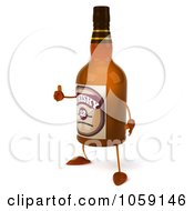 Royalty Free CGI Clip Art Illustration Of A 3d Whisky Bottle Character With A Thumb Up 1 by Julos