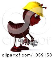 Royalty Free CGI Clip Art Illustration Of A 3d Worker Ant Facing Right And Pouting by Julos
