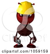 Royalty Free CGI Clip Art Illustration Of A 3d Worker Ant Facing Front And Pouting by Julos