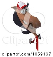 Royalty Free CGI Clip Art Illustration Of A 3d Polo Horse With A Sign 5