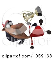Royalty Free CGI Clip Art Illustration Of A 3d Polo Horse Holding A Trophy 5