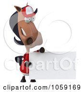 Royalty Free CGI Clip Art Illustration Of A 3d Polo Horse With A Sign 7