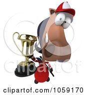 Royalty Free CGI Clip Art Illustration Of A 3d Polo Horse Holding A Trophy 4