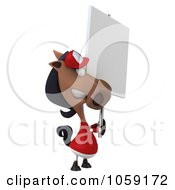 Royalty Free CGI Clip Art Illustration Of A 3d Polo Horse With A Sign 6