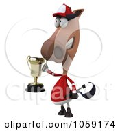 Royalty Free CGI Clip Art Illustration Of A 3d Polo Horse Holding A Trophy 6