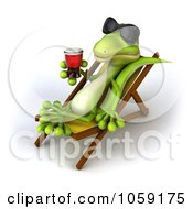 Royalty Free CGI Clip Art Illustration Of A 3d Gecko Sipping A Beverage And Resting On A Lounge Chair 5