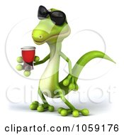 Royalty Free CGI Clip Art Illustration Of A 3d Gecko Sipping A Beverage And Wearing Shades 4