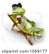 Royalty Free CGI Clip Art Illustration Of A 3d Gecko Sipping A Beverage And Resting On A Lounge Chair 4