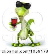 Royalty Free CGI Clip Art Illustration Of A 3d Gecko Sipping A Beverage And Wearing Shades 3