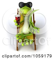 Royalty Free CGI Clip Art Illustration Of A 3d Gecko Sipping A Beverage And Resting On A Lounge Chair 3