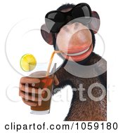 Royalty Free CGI Clip Art Illustration Of A 3d Chumpy Chimp Wearing Shades And Sipping A Drink 3