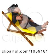 Royalty Free CGI Clip Art Illustration Of A 3d Chumpy Chimp Sipping A Beverage Poolside 3