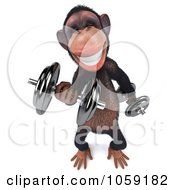 Royalty Free CGI Clip Art Illustration Of A 3d Chumpy Chimp Character Lifting Weights 3