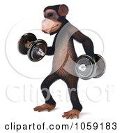Royalty Free CGI Clip Art Illustration Of A 3d Chumpy Chimp Character Lifting Weights 2