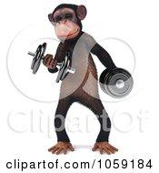 Royalty Free CGI Clip Art Illustration Of A 3d Chumpy Chimp Character Lifting Weights 1