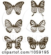 Royalty Free Vector Clip Art Illustration Of A Digital Collage Of Brown Vintage Butterflies by Cherie Reve