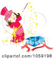 Royalty Free Vector Clip Art Illustration Of A Little Magician Girl Doing Magic by Cherie Reve