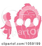 Royalty Free Vector Clip Art Illustration Of A Pink Silhouetted Birthday Girl And Giant Cupcake by Cherie Reve