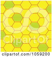Royalty Free Vector Clip Art Illustration Of A Yellow And Green Bee Hive Background Pattern by Cherie Reve