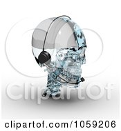 3d Glass Skull Wearing A Headset
