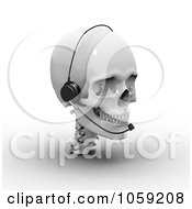 3d White Skull Wearing A Headset