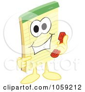 Royalty Free Vector Clip Art Illustration Of A Notepad Character Using A Phone