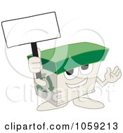 Royalty Free Vector Clip Art Illustration Of A Recycled Paper Box Character Holding A Blank Sign